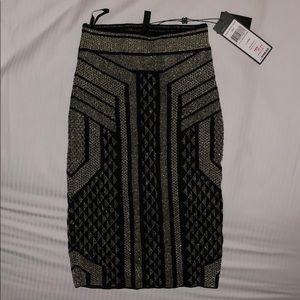 Black and gold BCBG pencil skirt
